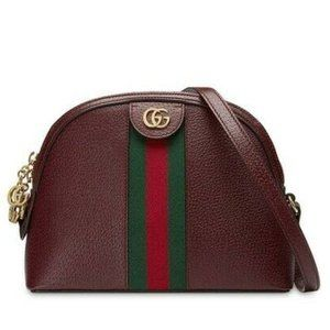 Gucci Ophidia Calfskin Gg Web Small Burgundy Red
